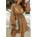 Pretty Ladies See Through Mesh Stringy Selvedge Blouson Sleeve Crew Neck Gathered Waist Short Pleated A-line Dress in Brown