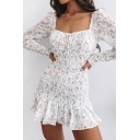 Popular Ladies Ditsy Floral Printed Long Sleeve Square Neck Bow Tie Ruffled Trim Pintuck Short A-line Dress in White