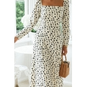 Amazing Womens Polka Dot Printed Long Sleeve Square Neck Split Side Long A-line Work Dress in White