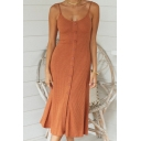 Elegant Ladies Solid Color Pleated Spaghetti Straps Button down Mid A-line Cami Dress