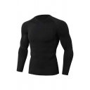 Fashionable Contrasted Long Sleeve Round Neck Slim Fitted T-Shirt for Men