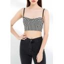 Chic Womens Stripe Print Spaghetti Straps Slim Fit Cropped Cami Top