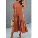 Casual Womens Solid Color Short Sleeve Crew Neck Ruffled Trim Maxi Swing T-shirt Dress