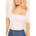 Fancy Womens Puff Sleeve Square Neck Stringy Selvedge Ruched Slim Fit T-shirt in White