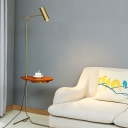Tube Rotatable Floor Lighting Postmodern Metal Gold Stand Up Lamp with Table for Living Room