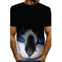 Chic Mens 3D Cat Dog Eagle Pattern Short Sleeve Round Neck Regular Fit Tee Top