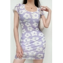 Fancy Girls Stringy Selvedge Allover Flower Print Short Sleeve Scoop Neck Lace-trim Mini Fitted Dress in Purple