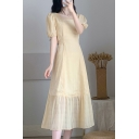 Pretty Ladies Yellow Floral Embroidered Lace Puff Sleeve Square Neck Ruffled Midi A-line Dress