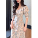 Pretty Ladies Allover Daisy Floral Print Puff Sleeve Stringy Selvedge V-neck Ruffle Mid A-line Dress in Blue