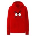 Chic Mens Cartoon Character Pattern Pocket Drawstring Long Sleeve Regular Fit Graphic Hooded Sweatshirt