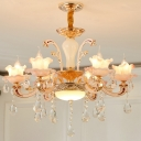 6 Heads Floral Hanging Chandelier Traditional Rose Gold Finish Crystal Glass Pendulum Light