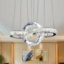 3-Ring Clear Crystal Hanging Lamp Kit Modern LED Black Ceiling Chandelier for Dining Room