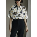 Casual Girls Daisy Printed Button Down Collar Short Sleeve Relaxed Fit Shirt in Green
