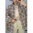 Fashionable Plaid Printed Long Sleeve Spread Collar Flap Pockets Oversize Shirt Top