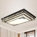 Rectangle Living Room Flush Mount Fixture Beveled Crystal Block LED Modernism Flush Lighting in Black
