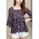 Fancy Womens Ditsy Floral Bell Sleeve Square Neck Pintuck Ruffled Regular Fit Blouse Top
