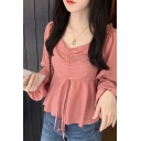 Fashion Solid Color Stringy Selvedge Drawstring Front Long Sleeve Sweetheart Neck Ruffled Regular Blouse Top for Women