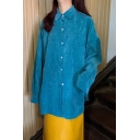 Cool Girls Blue Corduroy Long Sleeve Point Collar Button-up Long Loose Fit Shirt