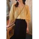 Adorable Girls Yellow Blouson Sleeve Round Neck Button down Relaxed Fit Shirt Top