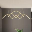 Waves Dining Room Suspension Lamp Metallic Minimalism LED Island Pendant in Gold, Warm/White Light