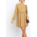 Womens Stylish Ditsy Floral Printed Stringy Selvedge Long Sleeve Round Neck Short Pleated Swing Dress in Yellow