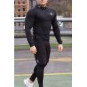Unique Men's Patterned 1/4 Zip Long Sleeve Slim Fit Sweat Polo Shirt