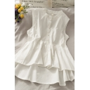 Cute Solid Color Button Pleated Ruffle Cuff Crew Neck Sleeveless Loose Fit Crop Smock Blouse for Girls