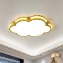 Gold Finish Cloud-Shape Ceiling Mounted Fixture Nordic LED Acrylic Flushmount Lighting