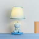 Barrel Shade Night Table Lamp Cartoon Fabric Single Blue/Pink Bear Night Stand Lamp for Bedside