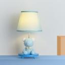Barrel Shade Night Table Lamp Cartoon Fabric Single Blue/Pink Bear Night Stand Lamp for Bedside