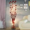 LED Standing Floor Light Art Deco Lotus Aluminum Wire Vase Floor Lamp in Red for Living Room