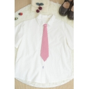 White Simple Rabbit Embroidery Button Down Red Striped Tie Collar Short Sleeve Regular Fit Shirt for Girls