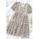 Fancy Girls Ditsy Floral Printed Ruffle Cuff Tiered V Neck Short Puff Sleeve Midi Smock Dress