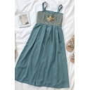 Vintage Ladies Floral Embroidery Print Pleated Back Square Neck Sleeveless Midi A Line Cami Dress