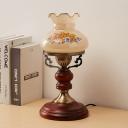 Kerosene-Lamp Shape Study Room Desk Lamp Warehouse Wood 1 Bulb Red Brown Table Light