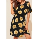 Popular Allover Flower Printed Short Sleeve Cold Shoulder Short A-line Black Dress