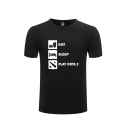 Fancy T-Shirt Cup Bed Letter Eat Sleep Printed Short Sleeve Round Neck Regular Fit Graphic T-Shirt for Men
