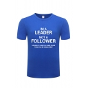 Cool Mens T-Shirt Letter Im A Leader Not A Follower Printed Short Sleeve Round Neck Regular Fitted T-Shirt