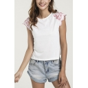 Popular Womens Flower Embroidered Scalloped Short Sleeve Crew Neck Regular Fit Tee in White