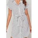 Womens Fashion Stripe Printed Short Sleeve Turn down Collar Button up Bow Tied Waist Short A-line Dress in White