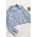 Simple Girls Solid Color Flap Pockets Button Down Pleated Detail Lapel Collar Long Sleeve Regular Fit Crop Blouse Top