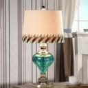 Urn-Shape Bedside Night Table Lamp Traditional Blue Dimpled Glass Single Beige Fabric Desk Light