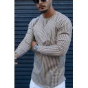 Fancy Mens Tee Top Striped Pattern Long Sleeve Round Neck Fitted Tee Top