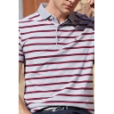 Classic Polo Shirt Striped Printed Horse Character Embroidery Button Short Sleeve Turn down Collar Fitted Polo Shirt for Men