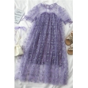 Gorgeous Girls Mesh Patchwork Circle Pattern Printed Tie Ruffle Trim Crew Neck Half Puff Sleeve Midi Flowy Dress