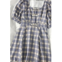 Girls Chinese Stylish Button Purple Plaid Pleated Square Neck Short Puff Sleeve Short Babydoll Dress in Purple