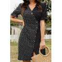 Black Unique Polka Dot Print Button down Gathered Waist Surplice Neck Short Puff Sleeve Mini Sheath Dress for Women