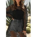 Streetwear Girls Hollow out See-through Mesh Long Sleeve Round Neck Short Shift Fishnet Dress in Black