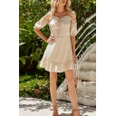 Adorable Womens Stringy Selvedge Short Sleeve Cold Shoulder Ruffled Hem Short A-line Dress in Apricot