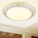 Milky Glass Domed Ceiling Flush Traditional LED Bedroom Flush Mount Fixture in White and Gold, 18.5